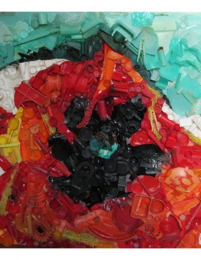 Deep red , cm 100 x 100 Plastica dal Mare 2009